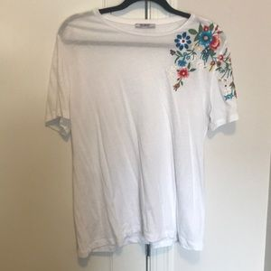 White embroidered T Shirt